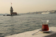 Maiden's tower, tea  and istanbul Stock Photo
