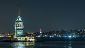 The Maiden`s Tower timelapse at blue hour on the Bosphorus in Istanbul, Turkey. stock footage