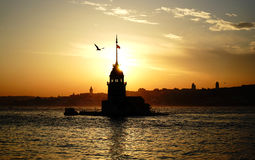 Maiden's Tower. View from Üsküdar İstanbul Stock Photos