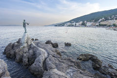 Maiden with the seagull. Statue of girl with the seagull in Opatija, a town in western Croatia, just southwest of Rijeka on the Adriatic coast Royalty Free Stock Photo