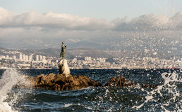 Maiden with the Seagull. On the waterfront of Opatija. Opatija is a town in Croatia, very close to the city of Rijeka. It is a popular summer and winter resort Royalty Free Stock Image