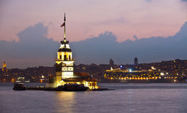 Maiden tower. At the istanbul turkey Royalty Free Stock Photos