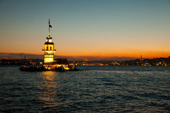 Maiden tower 3. Maiden tower at the night istanbul turkey Stock Photos