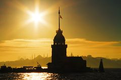 Maiden Tower against sun Royalty Free Stock Image