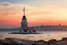 Maiden Tower in Bosphorus Stock Images