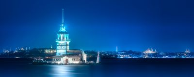 Maiden Tower in Bosphorus strait Istanbul, Turkey. Maiden Tower or Kiz Kulesi in Bosphorus strait at evening time Istanbul, Turkey stock photography