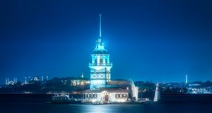 Maiden Tower in Bosphorus strait Istanbul, Turkey. Maiden Tower or Kiz Kulesi in Bosphorus strait at evening time Istanbul, Turkey royalty free stock image
