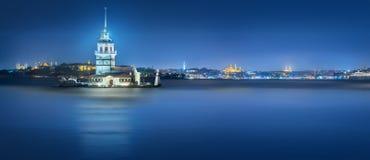 Maiden Tower in Bosphorus strait Istanbul, Turkey stock photos