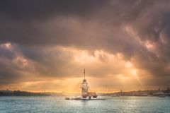 Maiden Tower in Bosphorus strait Istanbul, Turkey Royalty Free Stock Image