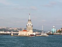 Maiden Tower in Bosporus. Historical beacon in Bosporus, Istanbul Royalty Free Stock Images