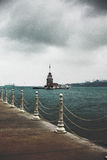 Maiden Tower. In a cold day from Uskudar Royalty Free Stock Images