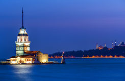 The Maiden tower at dawn. The Maiden tower in Istanbul at dawn Royalty Free Stock Photos