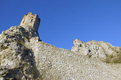 The Maiden Tower and east wall of Devin castle Stock Photo