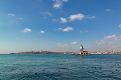 Maiden tower with eminonu area in istanbul far. Royalty Free Stock Photography