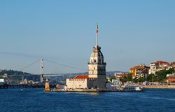 Maiden Tower in Istanbul. The Maiden's Tower, also known in the ancient Greek and medieval Byzantine periods as Leandros Tower, sits on a small islet located in Royalty Free Stock Photography