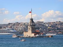 Maiden Tower. Istanbul Maidens Tower in Summer Stock Photos