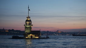 Maiden tower in Istanbul. On a sunset, Turkey stock video footage