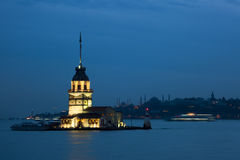 Maiden Tower. In Istanbul twilight Stock Photos