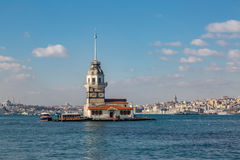 Maiden tower with karakoy district Royalty Free Stock Image