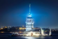 Maiden Tower in Bosphorus strait Istanbul, Turkey. Maiden Tower or Kiz Kulesi in Bosphorus strait at evening time Istanbul, Turkey Royalty Free Stock Photo