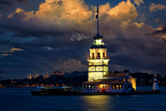 Maiden Tower. (Kiz Kulesi Leander's Tower) at dusk, Istanbul, Turkey Royalty Free Stock Photo