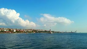 Maiden Tower landscape from steamboat in Istanbul. Stock Photography
