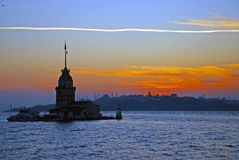 Maiden Tower. And the Old City Silhouette in Istanbul Turkey Royalty Free Stock Image