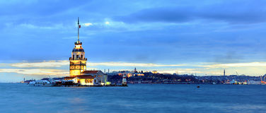 Maiden Tower Panaromic. Evening view of Maiden's Tower in Istanbul on the Bosphorus strait Royalty Free Stock Photography