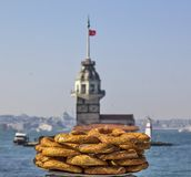Maiden Tower. And Pretzel Crispy Royalty Free Stock Images