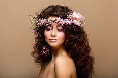Maiden. Virginity. Beauty Fashion Model Young Romantic Girl - Brown Frizzle Royalty Free Stock Photography