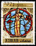 Maiden, zodiac sign in the Notre Dame Cathedral, Paris, Personalities and their zodiac signs serie, circa 1971. MOSCOW, RUSSIA - MAY 25, 2019: Postage stamp royalty free stock image