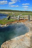 Maidens Grave Hot Spring flowing into the Firehole River in Yellowstone National Park in Wyoming USA Royalty Free Stock Photography
