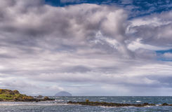 Maidens Harbour & Bay Near Girvan and Ailsa Craig in the distanc Royalty Free Stock Photos