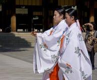 Maidens on Japanese shinto wedding ceremony. Maidens wear traditional dress on the wedding   ceremony at Meiji Jingu Shrine Stock Photography