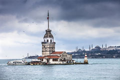 The Maidens Tower in Istanbul stock images