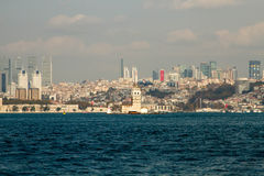 Maidens Tower, Istanbul, city and sea, blue sky Royalty Free Stock Photos