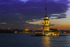 Maidens Tower, Istanbul. Night view of the Maidens Tower located Istanbul Royalty Free Stock Photos