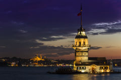 Maidens Tower, Istanbul. Night view of the Maidens Tower located Istanbul Royalty Free Stock Image