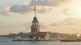 Maidens tower in istanbul, turkey, kiz kulesi tower, sunset in istanbul. Maidens tower in istanbul, turkey, kiz kulesi tower, evening in istanbul stock video