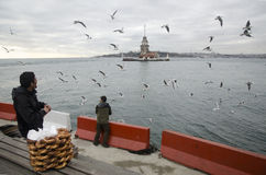 Maidens Tower in Istanbul, Turkish bagel salesman. Istanbul, Turkey - December 04, 2013: A pretzel vendor and a man feeding seagulls appear Royalty Free Stock Images