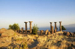 Ruined Athena Temple in Assos Stock Image