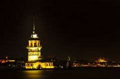 Maidens Tower at night in istanbul, turkey Stock Photo
