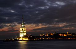 Maidens Tower at night istanbul turkey Royalty Free Stock Images