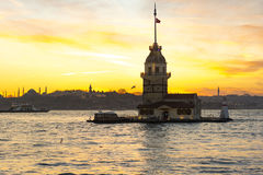 Maidens tower on sunset uskudar istanbul Stock Photos