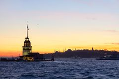Maidens Tower, Turkey stock photography