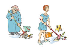 The Maids. The young and old maids are doing their hard work Royalty Free Stock Image