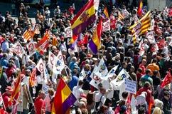 Maifeiertags-Demonstration 2012, Barcelona, Spanien Stockbilder