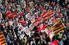 Maifeiertags-Demonstration 2012, Barcelona, Spanien Lizenzfreies Stockbild