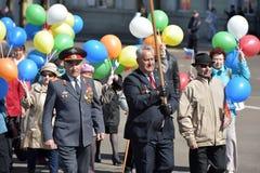 Maifeiertagsdemonstration zu Ehren der Feier des Feiertags Lizenzfreie Stockfotos