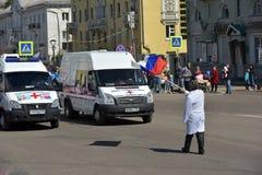 Maifeiertagsdemonstration zu Ehren der Feier des Feiertags Stockfotografie
